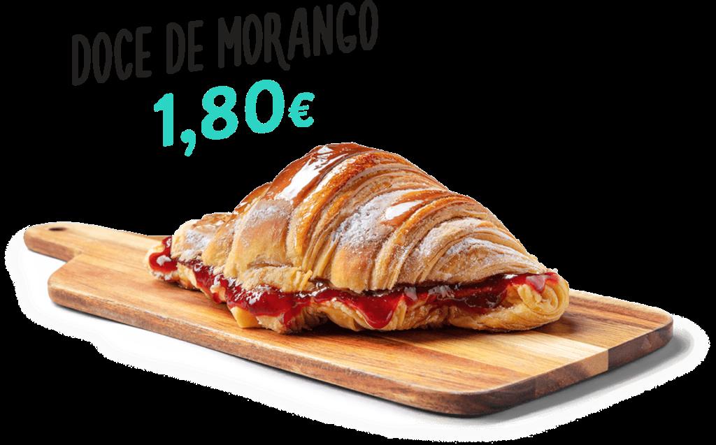 Croissant Doce de Morango, um dos produtos que fazem parte do menu d'O Melhor Croissant da Minha Rua.