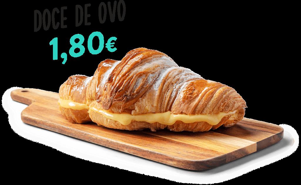 Croissant Doce de Ovo, um dos produtos que fazem parte do menu d'O Melhor Croissant da Minha Rua.