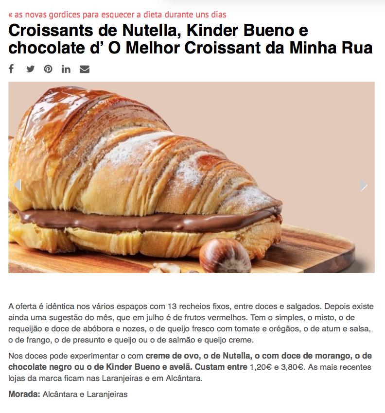 Os nossos croissants já brilham na Time Out