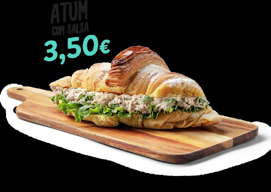 Croissant de atum com salsa, um dos produtos que fazem parte do menu d'O Melhor Croissant da Minha Rua.