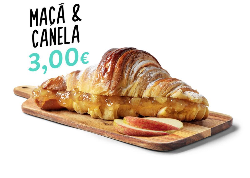 Croissant de maçã e canela, um dos produtos que fazem parte do menu d'O Melhor Croissant da Minha Rua.