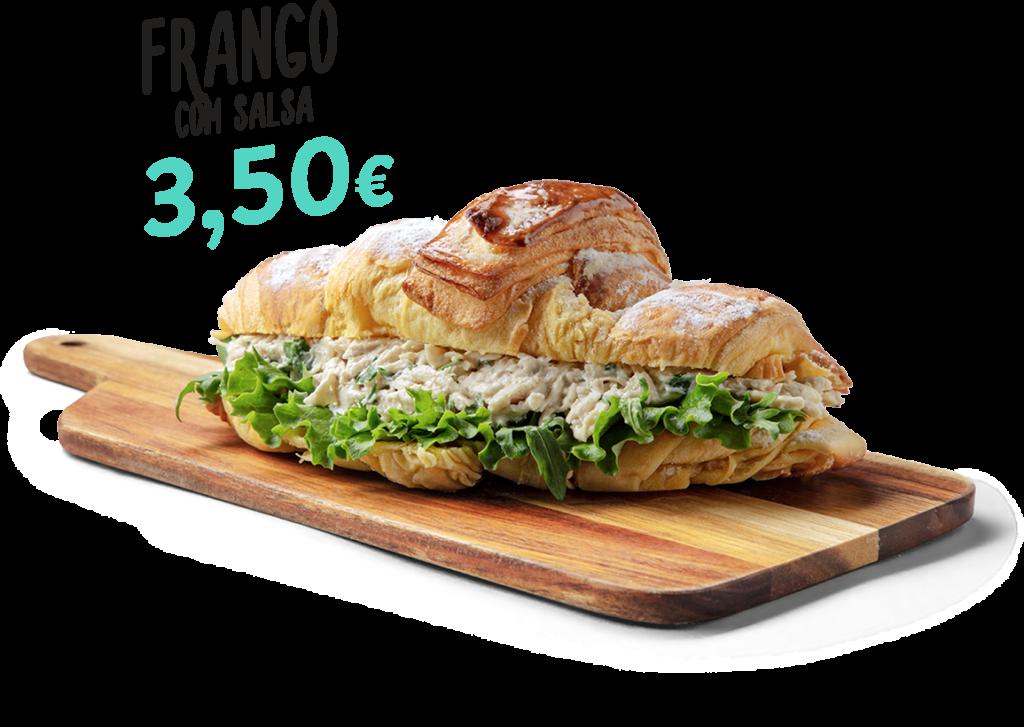 Croissant de frango com salsa, um dos produtos que fazem parte do menu d'O Melhor Croissant da Minha Rua.