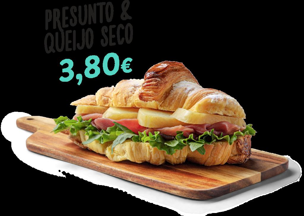 Croissant de presunto e queijo seco, um dos produtos que fazem parte do menu d'O Melhor Croissant da Minha Rua.