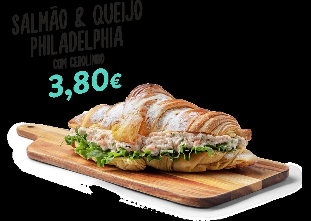 Croissant de salmão e queijo Philadelphia com cebolinho, um dos produtos que fazem parte do menu d'O Melhor Croissant da Minha Rua.